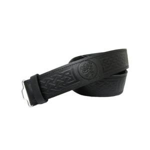 Black Leather Lion Rampant Embossed Leather Kilt Belt