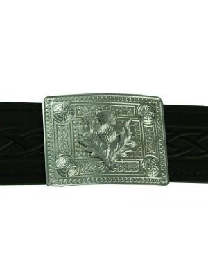 Celtic Knot with Thistle mount Buckle for kilt belt