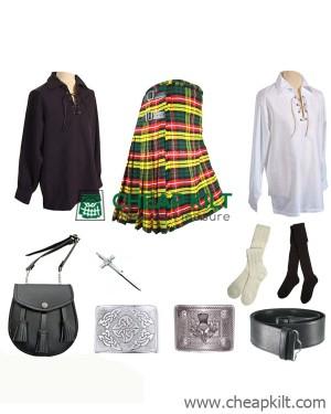 9 Pcs | Buchanan Tartan Wedding Kilt Outfit