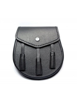 Plain Black Leather Casual Day Sporran