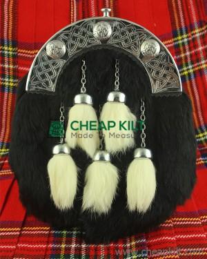 Black Rabbit Fur Sporran with Three White Tassels