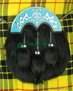 Black Rabbit Fur Sporran With Blue Cantle