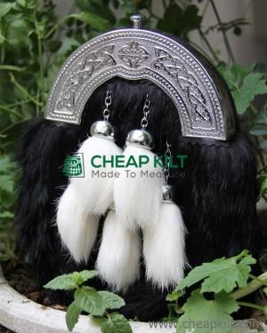 Black Rabbit Fur Sporran With 5 Tassels White Rabbit