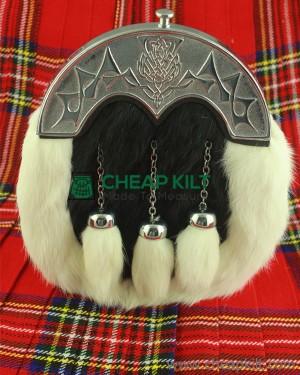 Black And White Full Dress Rabbit Fur Sporran