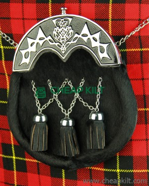 Black Cowhide Full Dress Sporran Black Chrome Cantle