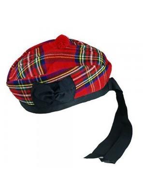 Royal Stewart Glengarry with Red Pompom Wool Scottish Kilt Hat Highland Wear