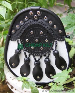 Handmade Black Leather Stud Sporran