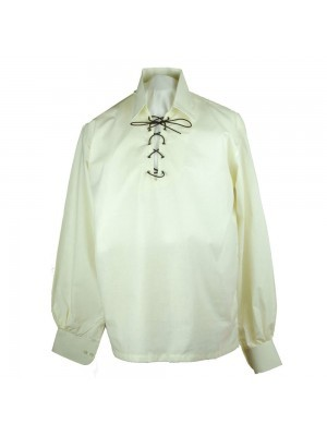 Mens Jacobite Ghillie Shirt Jacobean Cotton
