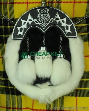 White And Black Rabbit Fur Sporran