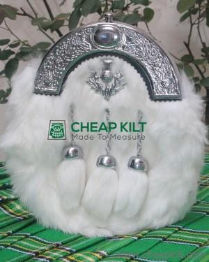 White Rabbit Fur Sporran with Thistle